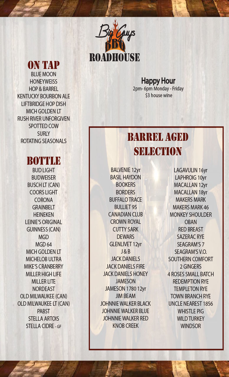 Big Guys Winter Beer List